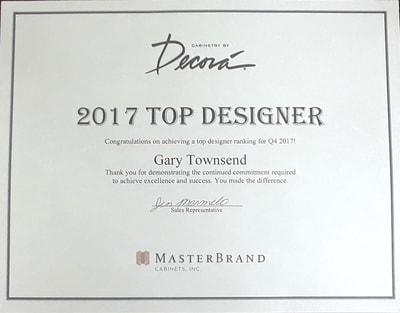 Design RIght Kitchens awarded 2017 Top Designer Award 4th Quarter