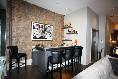 Manhattan NY Custom Bar and Floating Shelves
